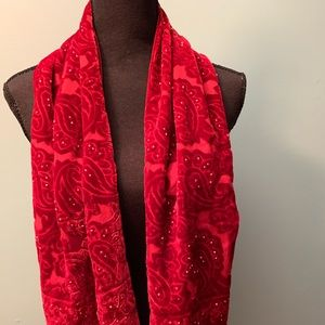 NWT Lord & Taylor Velour Beaded Scarf